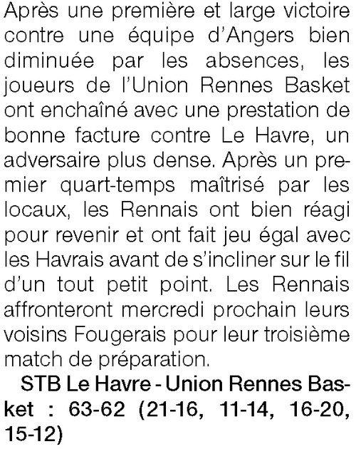 Article de presse Ouest-France du 30 août 2020