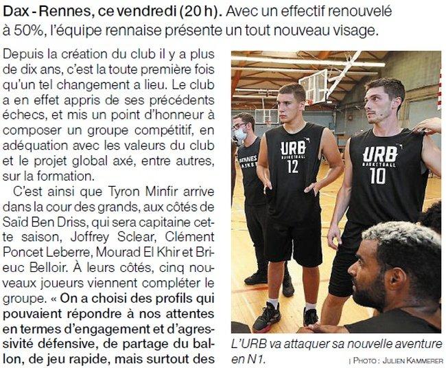 Article de presse Ouest-France du 2 octobre 2020